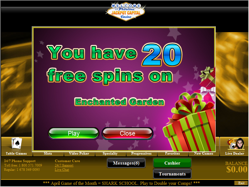 Jackpot Capital Casino Free Spins - Enchanted Garden