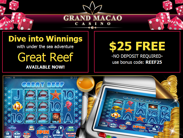 Grand Macao Casino Great Reef Slot No Deposit