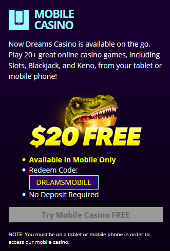 Dreams Mobile Casino Bonus