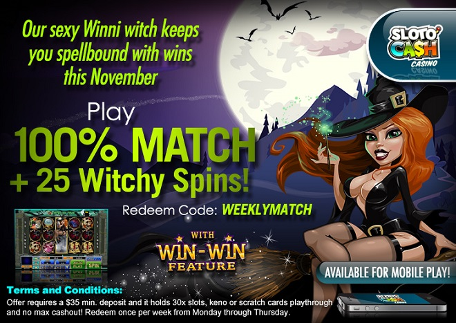 Sloto Cah Casino November Weekly Match Bonus