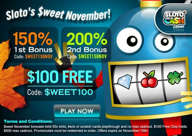 sloto cash casino no deposit bonus codes 2017