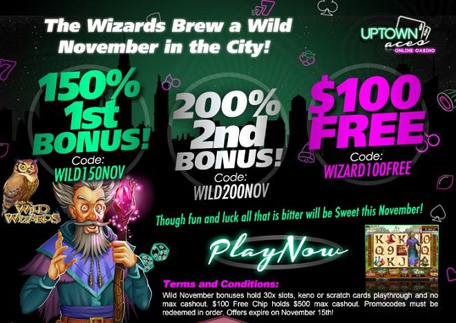Uptown Aces Casino Bonuses November 2015