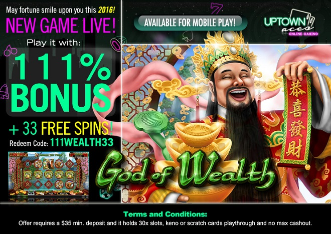 New God of Wealth RTG Slot Bonuses Uptown Aces Casino