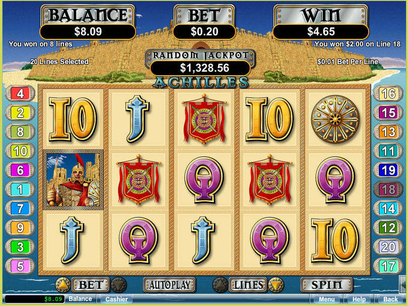 Intertops RED Casino Achilles Slot Free Spins