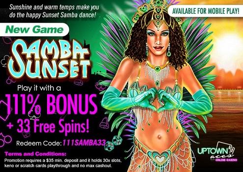 Uptown Aces Casino Samba Sunset Slot Bonuses