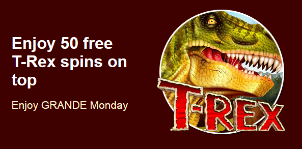 Grande Vegas Casino July 2017 T-Rex Slot Bonus