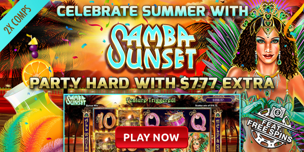 August 2017 Intertops Casino Samba Sunset Slot Bonus