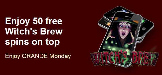 Grande Vegas Casino Witchs Brew Free Spins Plus Match Bonus